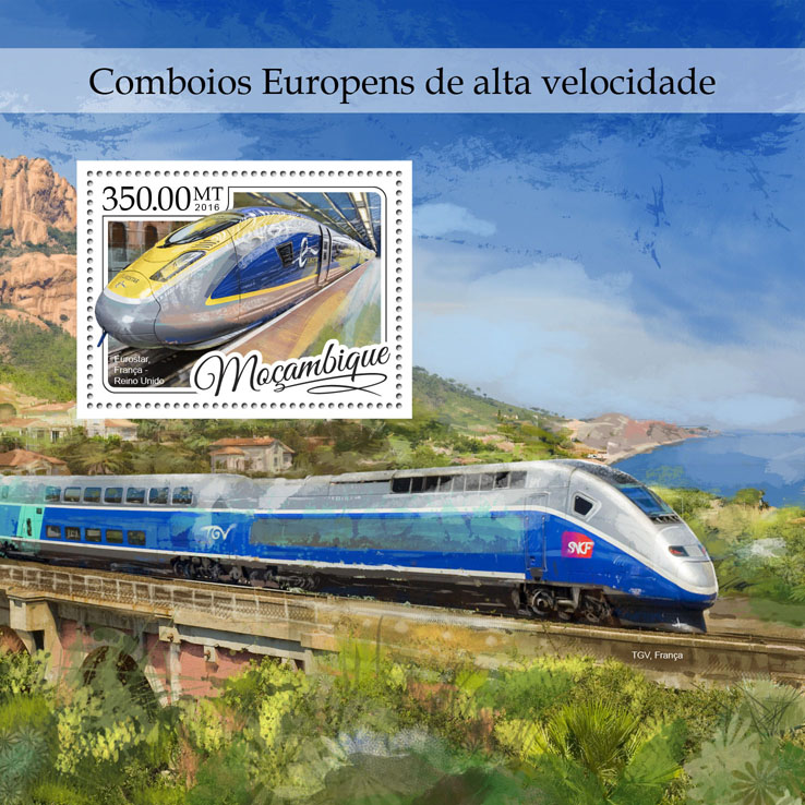 European fast trains - Issue of Mozambique postage Stamps