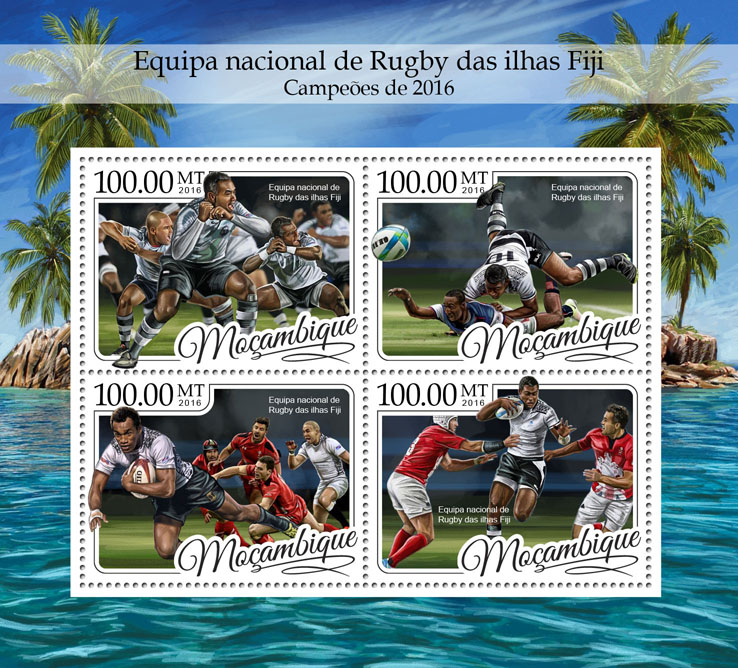 Fiji Rugby - Issue of Mozambique postage Stamps