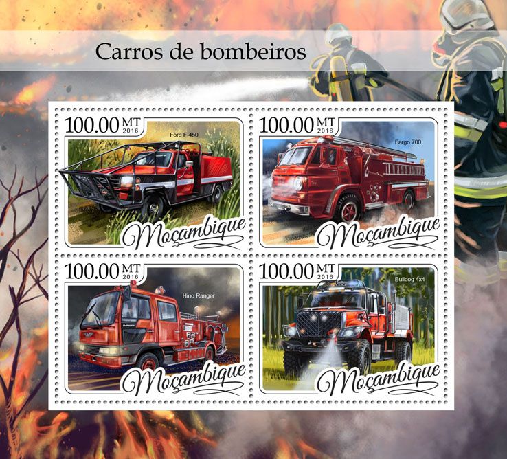 Fire trucks - Issue of Mozambique postage Stamps