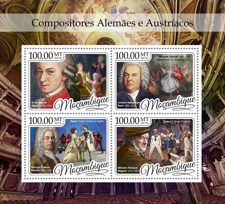 Composers - Issue of Mozambique postage Stamps