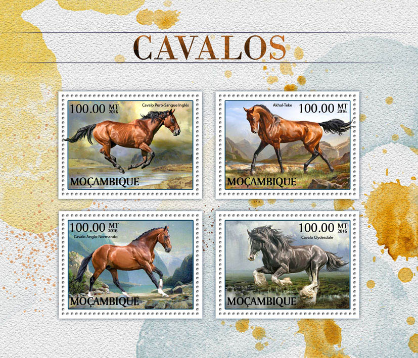 Horses - Issue of Mozambique postage Stamps