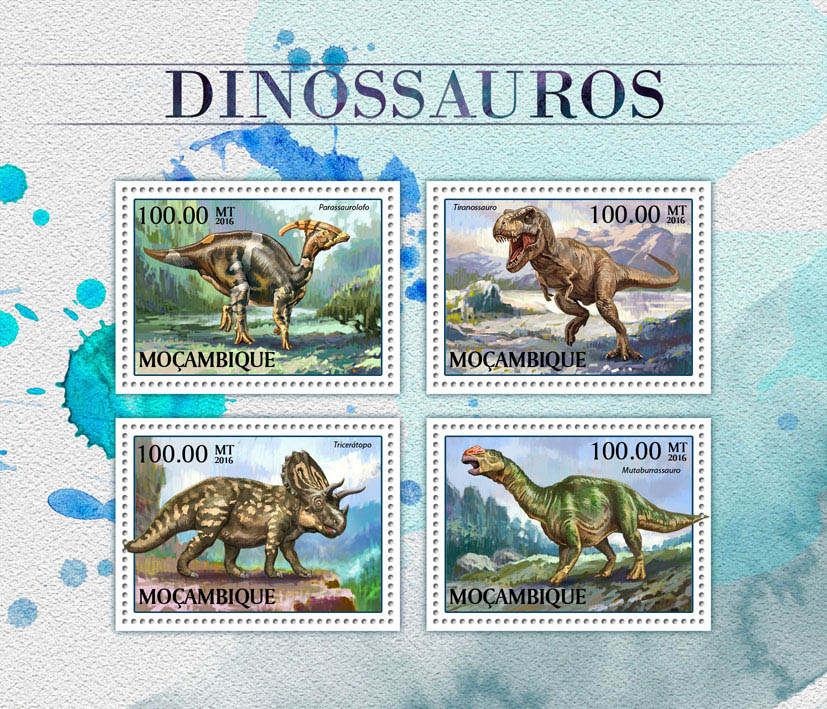 Dinosaurs - Issue of Mozambique postage Stamps