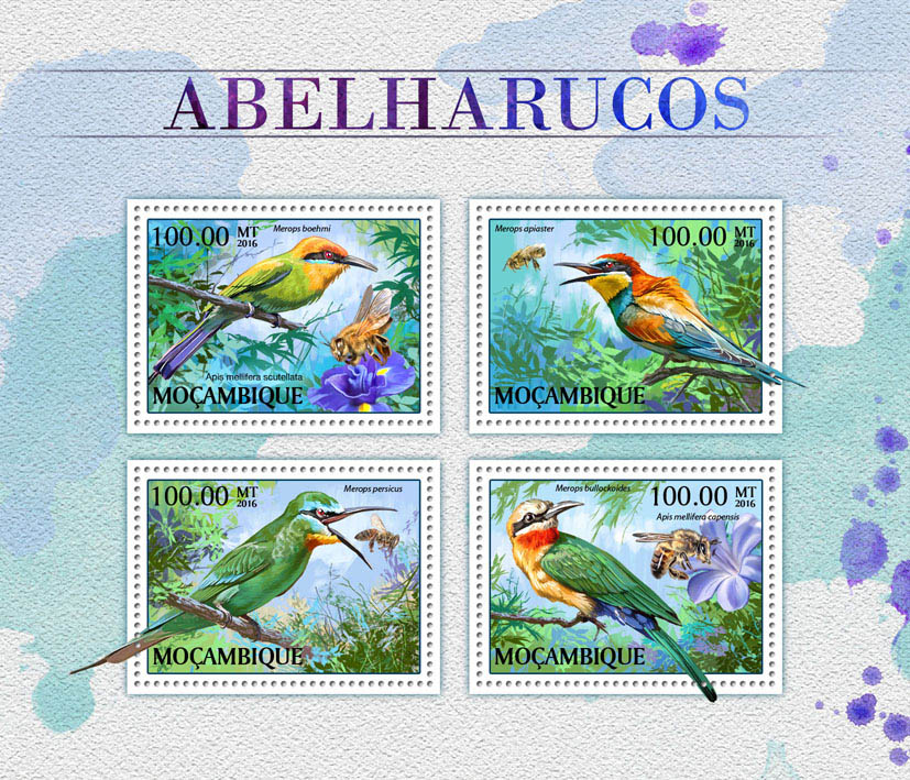 Bee-eaters - Issue of Mozambique postage Stamps