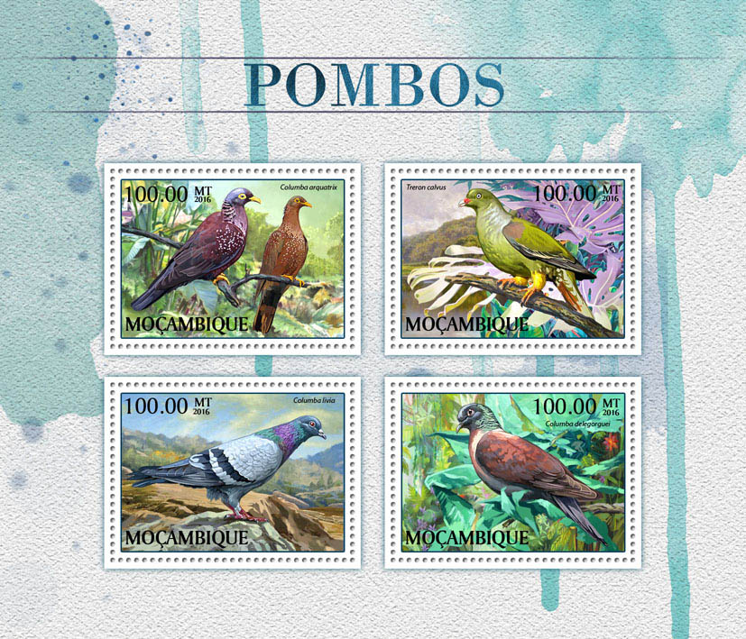 Pigeons - Issue of Mozambique postage Stamps