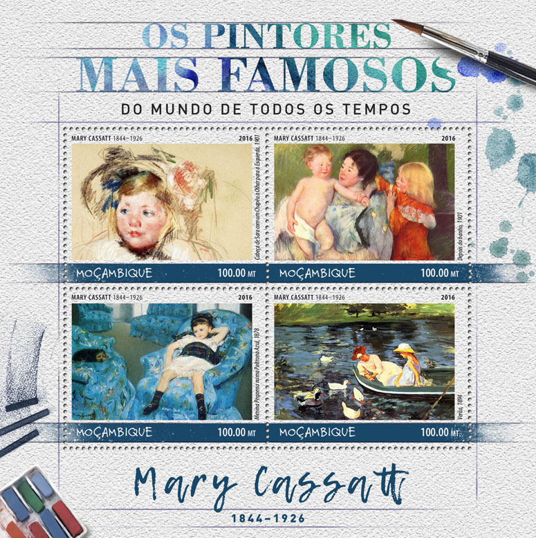 Mary Cassatt - Issue of Mozambique postage Stamps