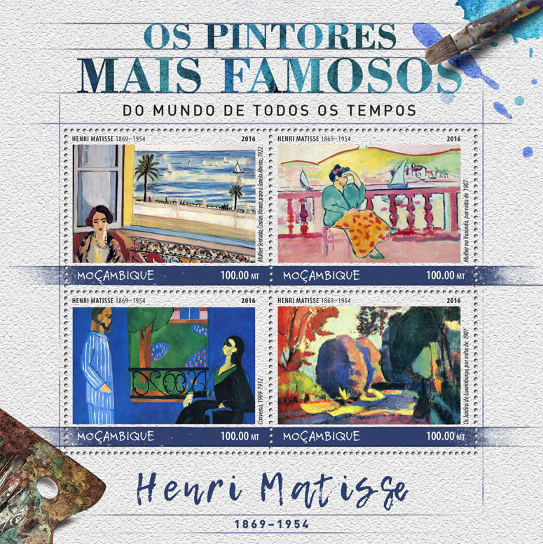 Henri Matisse - Issue of Mozambique postage Stamps