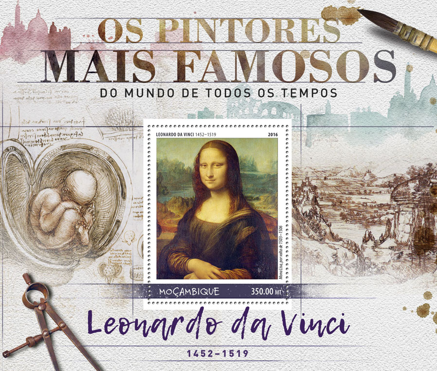 Leonardo da Vinci - Issue of Mozambique postage Stamps