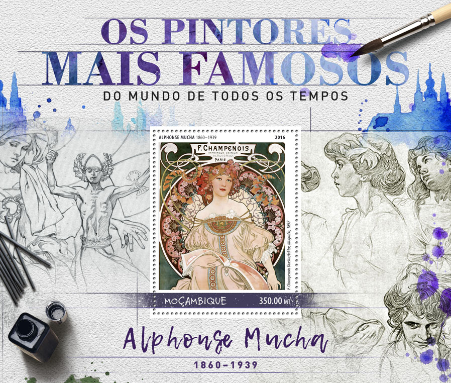 Alphonse Mucha - Issue of Mozambique postage Stamps