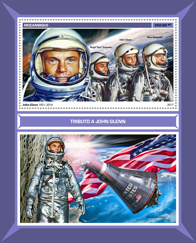 John Glenn - Issue of Mozambique postage Stamps