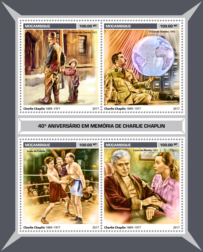 Charlie Chaplin - Issue of Mozambique postage Stamps
