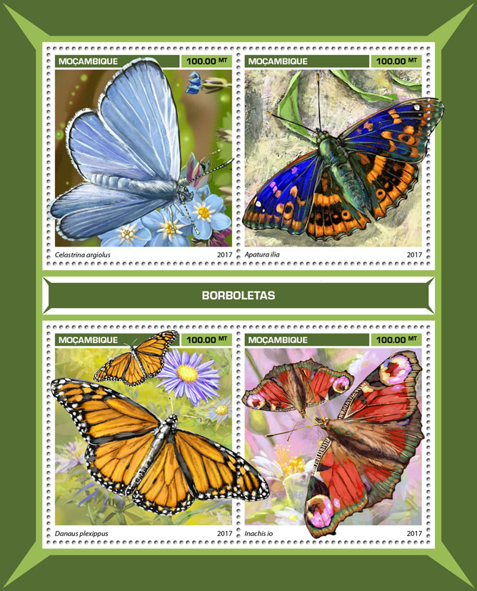 Butterflies - Issue of Mozambique postage Stamps