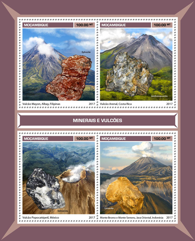 Minerals and volcanoes - Issue of Mozambique postage Stamps