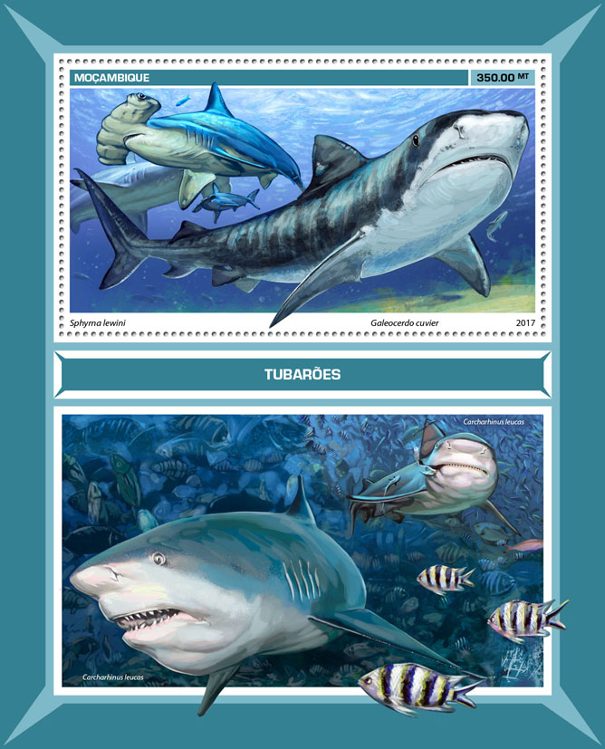 Sharks - Issue of Mozambique postage Stamps