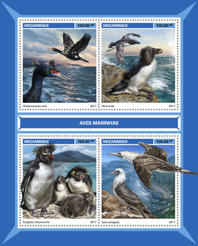 Sea birds - Issue of Mozambique postage Stamps