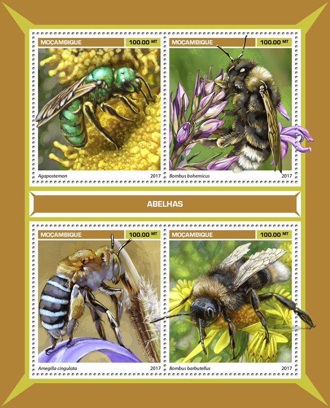 Bees - Issue of Mozambique postage Stamps