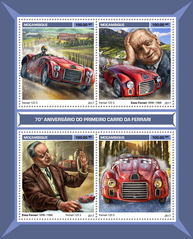 First Ferrari car - Issue of Mozambique postage Stamps