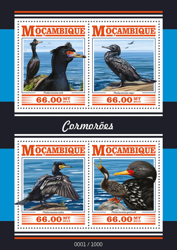 Cormorants - Issue of Mozambique postage Stamps