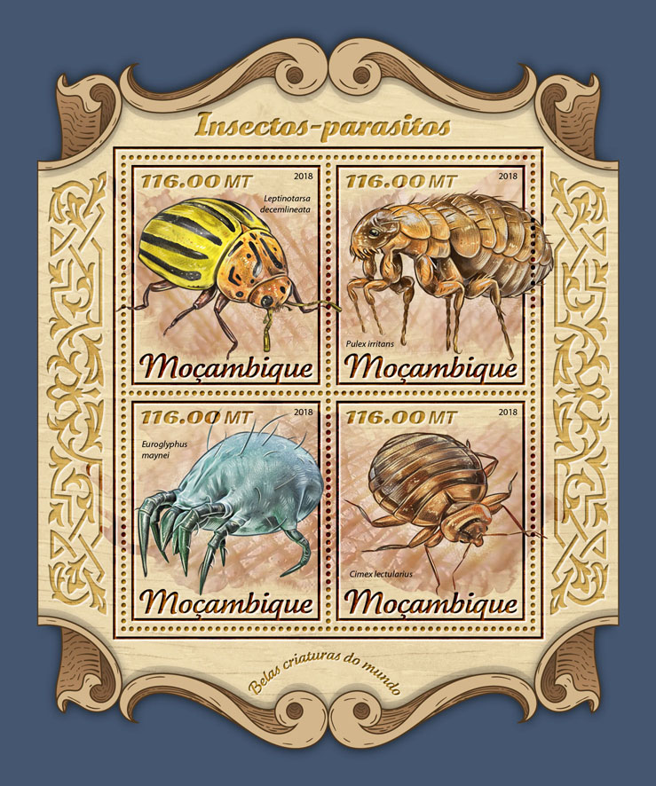 Insects-parasites - Issue of Mozambique postage Stamps