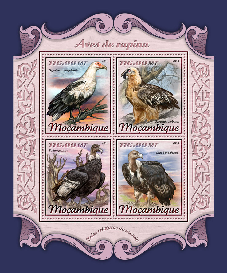 Bird of prey - Issue of Mozambique postage Stamps