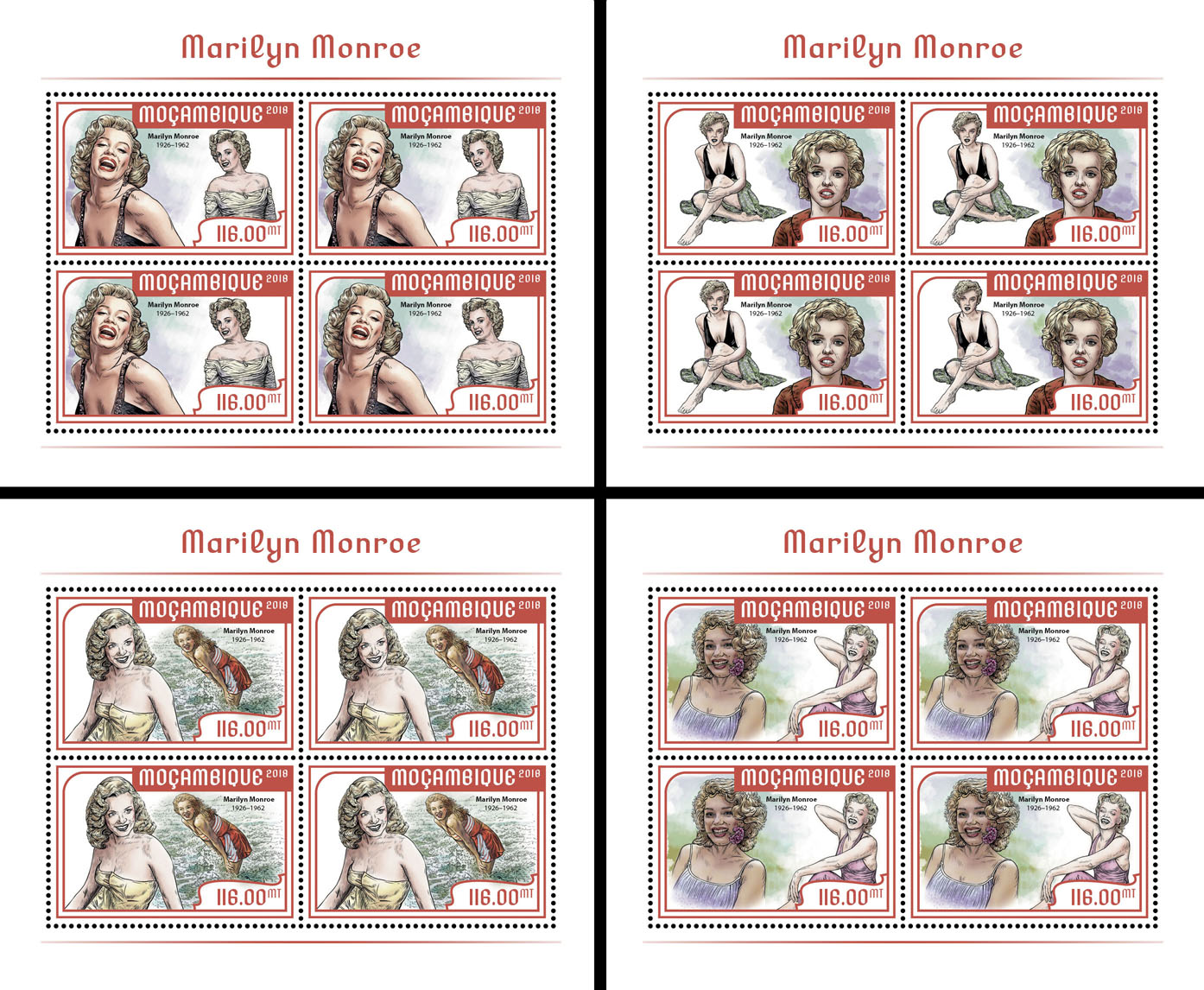 Marilyn Monroe (4 sets of 4 stamps) - Issue of Mozambique postage Stamps