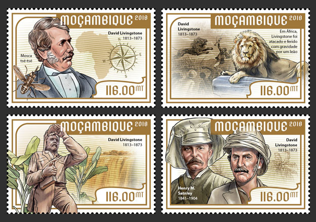 David Livingstone  (set of 4 stamps) - Issue of Mozambique postage Stamps