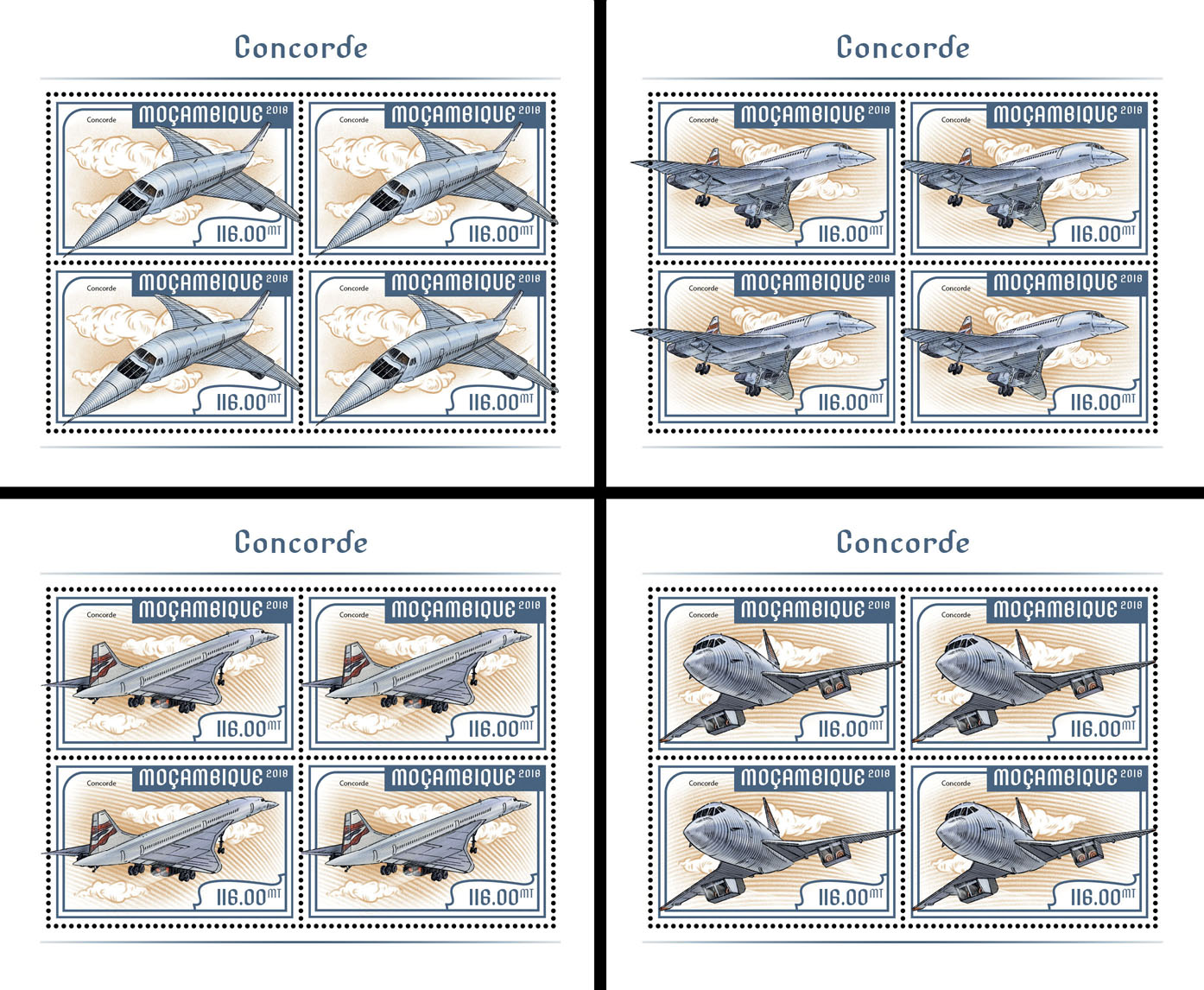 Concorde (4 sets of 4 stamps) - Issue of Mozambique postage Stamps