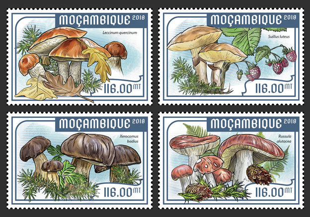 Mushrooms (set of 4 stamps) - Issue of Mozambique postage Stamps