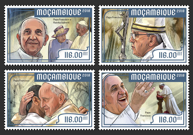 Pope Francis (set of 4 stamps) - Issue of Mozambique postage Stamps