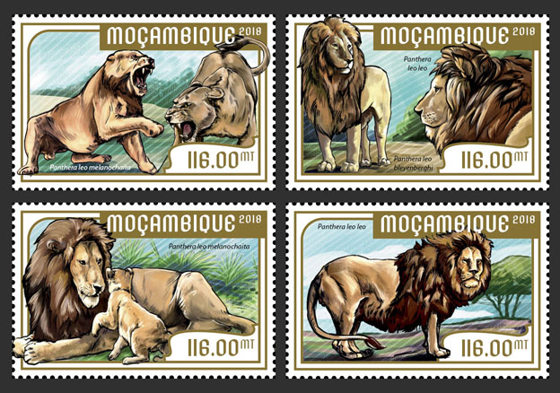 Lions (set of 4 stamps) - Issue of Mozambique postage Stamps