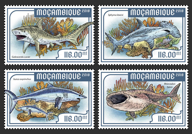 Sharks (set of 4 stamps) - Issue of Mozambique postage Stamps