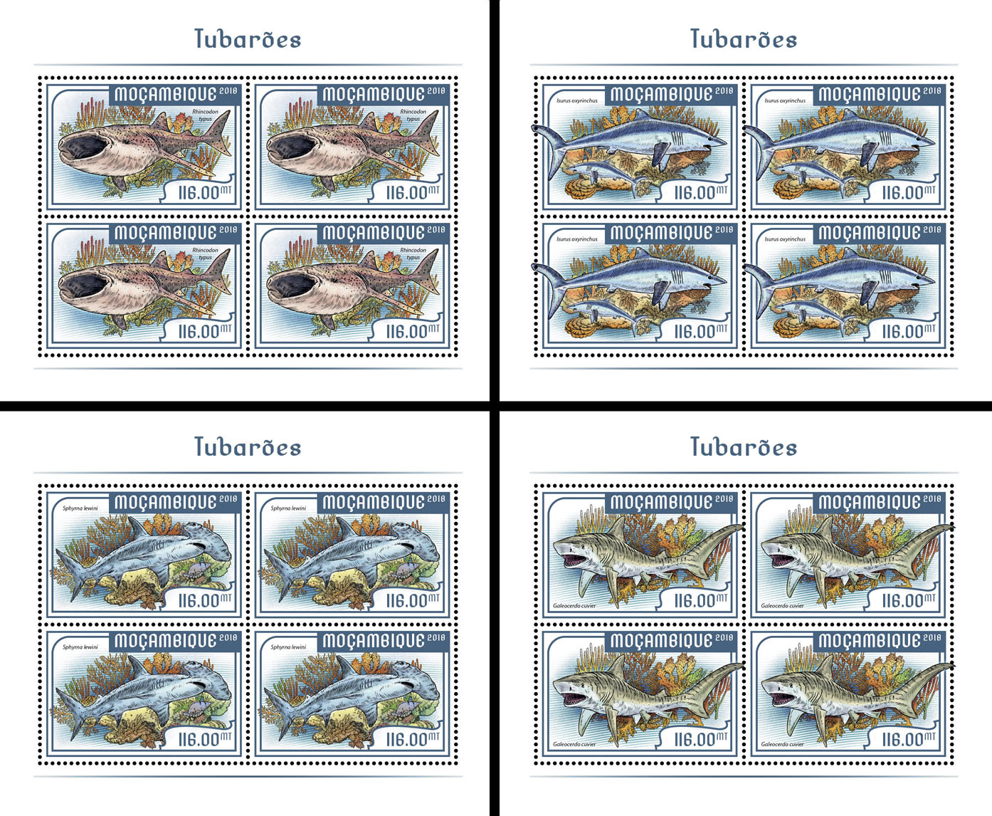 Sharks (4 sets of 4 stamps) - Issue of Mozambique postage Stamps