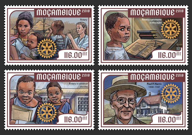 Paul P. Harris  (set of 4 stamps) - Issue of Mozambique postage Stamps