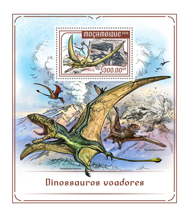 Flying dinosaurs - Issue of Mozambique postage Stamps