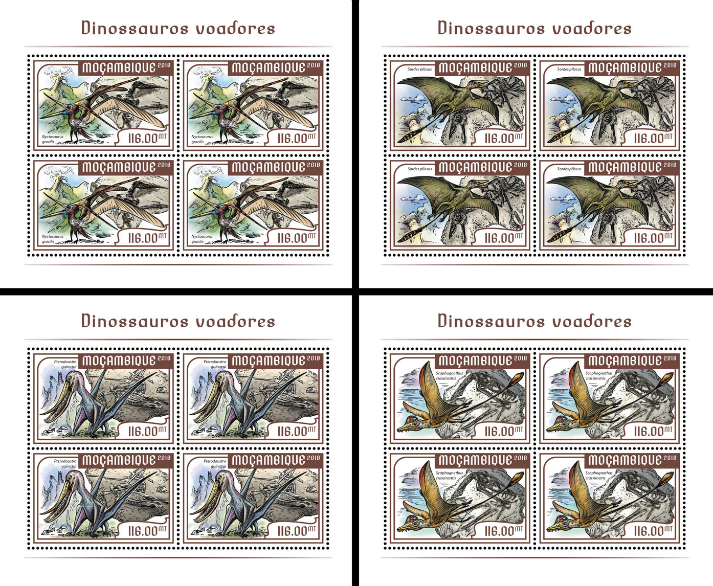 Flying dinosaurs (4 sets of 4 stamps) - Issue of Mozambique postage Stamps