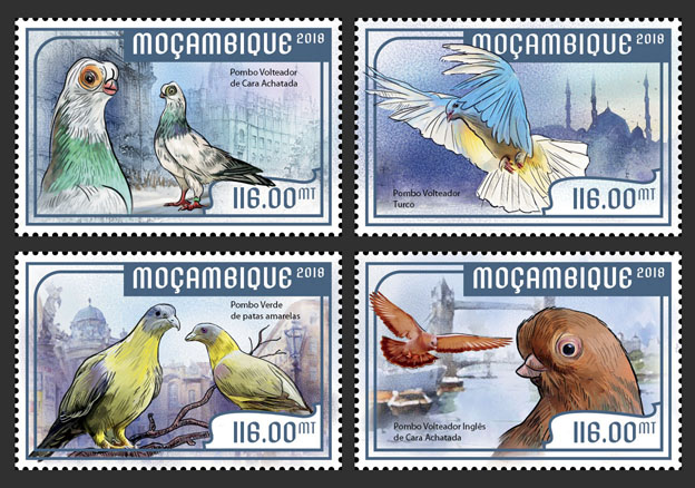 Pigeons (set of 4 stamps) - Issue of Mozambique postage Stamps