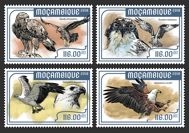 Eagles (set of 4 stamps) - Issue of Mozambique postage Stamps