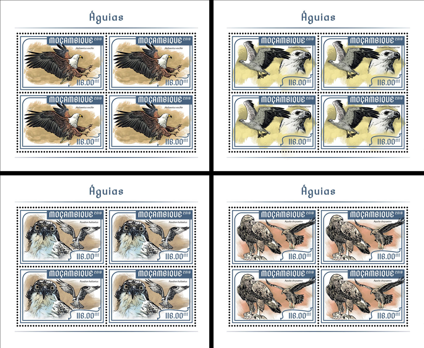 Eagles(4 sets of 4 stamps) - Issue of Mozambique postage Stamps