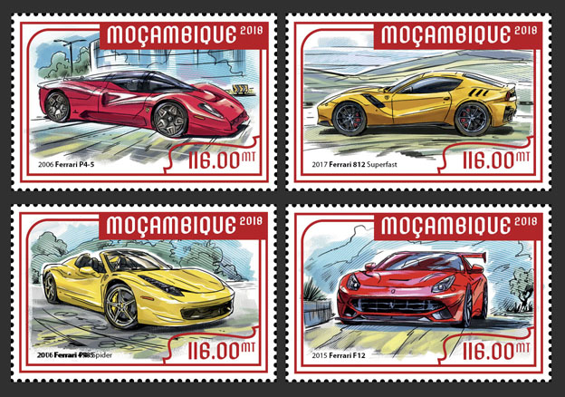 Enzo Ferrari (set of 4 stamps) - Issue of Mozambique postage Stamps