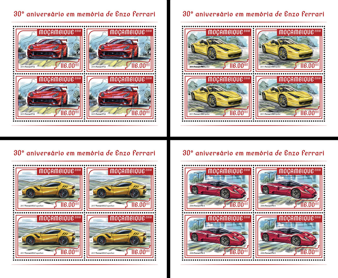 Enzo Ferrari (4 sets of 4 stamps) - Issue of Mozambique postage Stamps