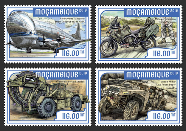 Special transport (set of 4 stamps) - Issue of Mozambique postage Stamps