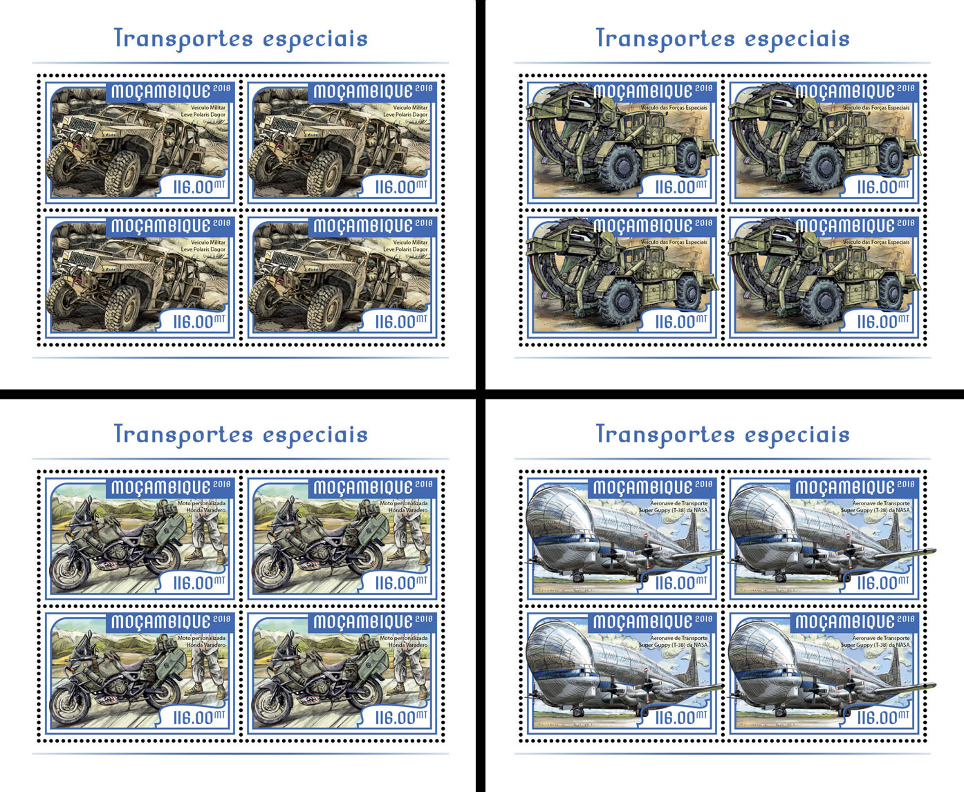 Special transport (4 sets of 4 stamps) - Issue of Mozambique postage Stamps