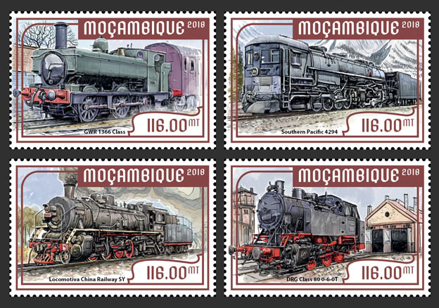 Steam trains (set of 4 stamps) - Issue of Mozambique postage Stamps