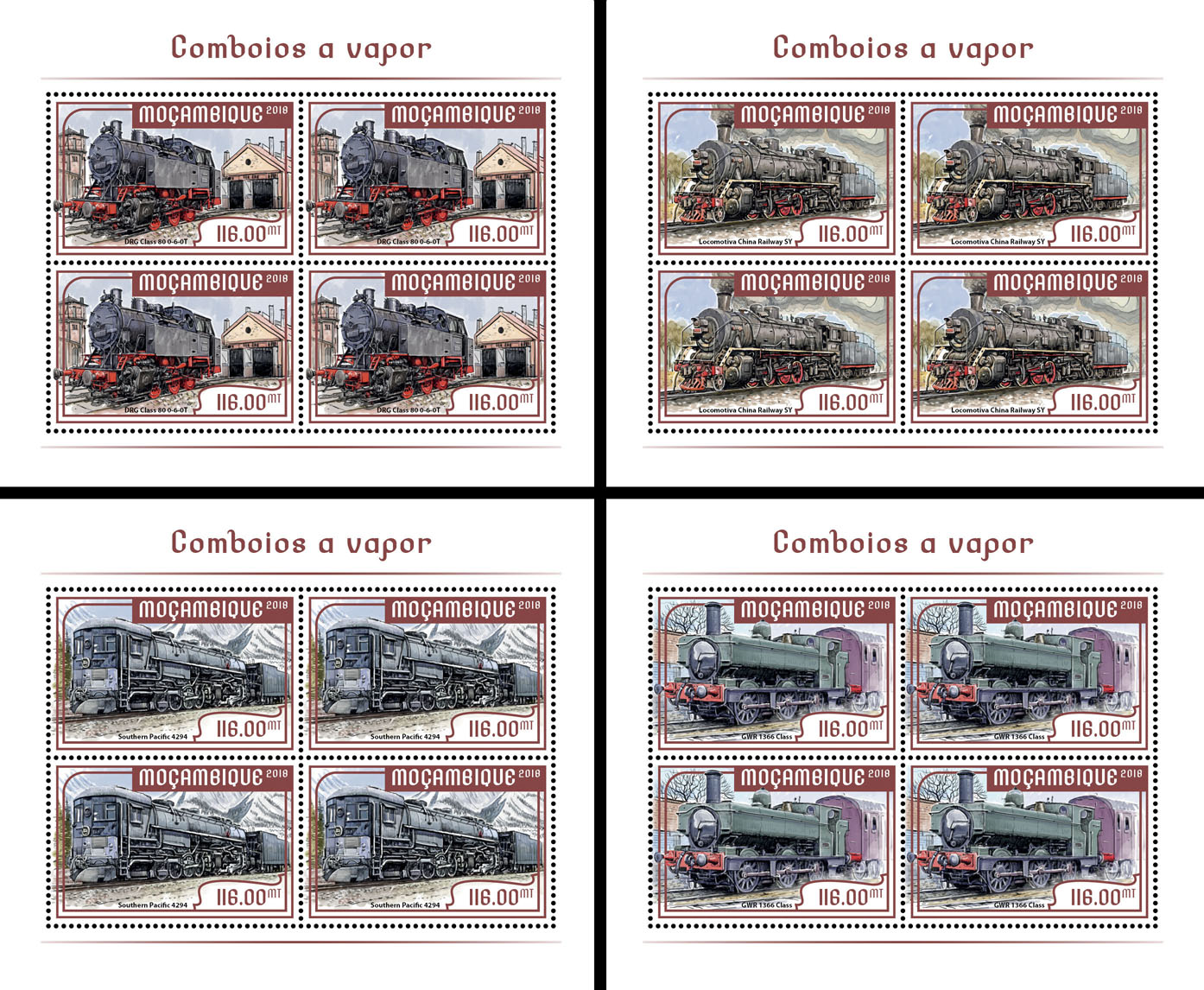 Steam trains (4 sets of 4 stamps) - Issue of Mozambique postage Stamps