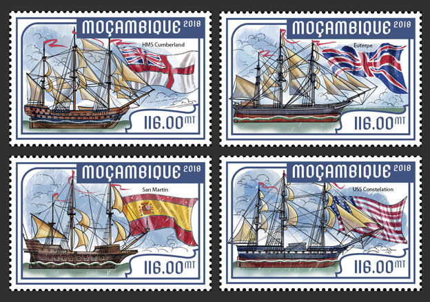 Tall ships (set of 4 stamps) - Issue of Mozambique postage Stamps