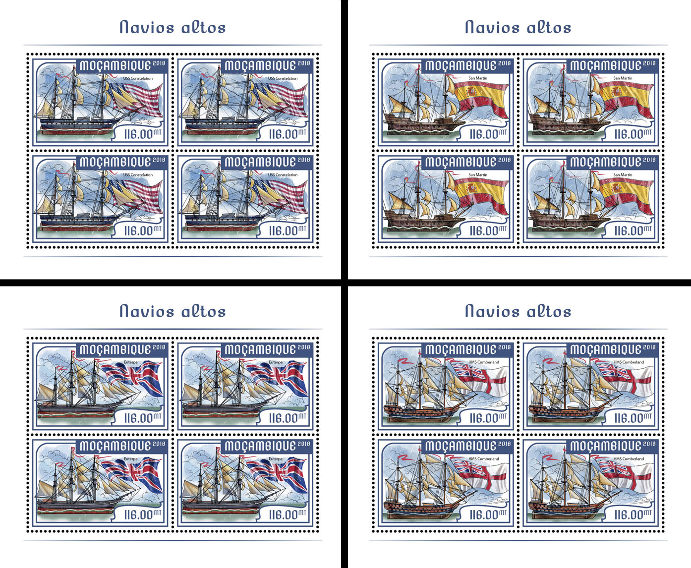 Tall ships (4 sets of 4 stamps) - Issue of Mozambique postage Stamps