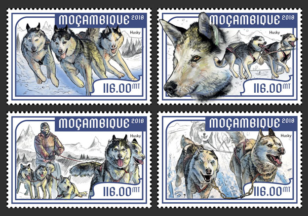 Sledge dogs (set of 4 stamps) - Issue of Mozambique postage Stamps
