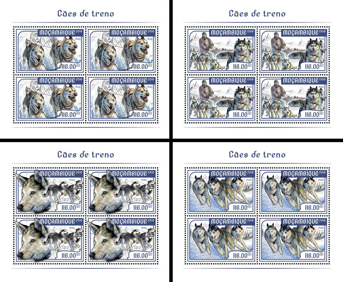 Sledge dogs (4 sets of 4 stamps) - Issue of Mozambique postage Stamps
