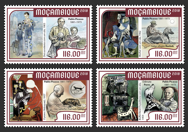 Pablo Picasso (set of 4 stamps) - Issue of Mozambique postage Stamps