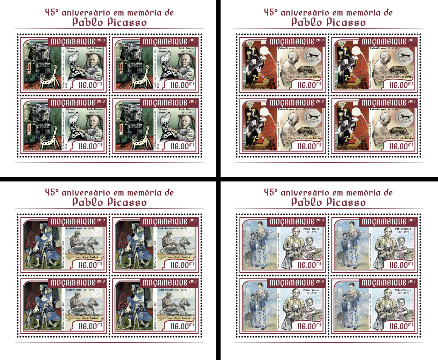 Pablo Picasso (4 sets of 4 stamps) - Issue of Mozambique postage Stamps