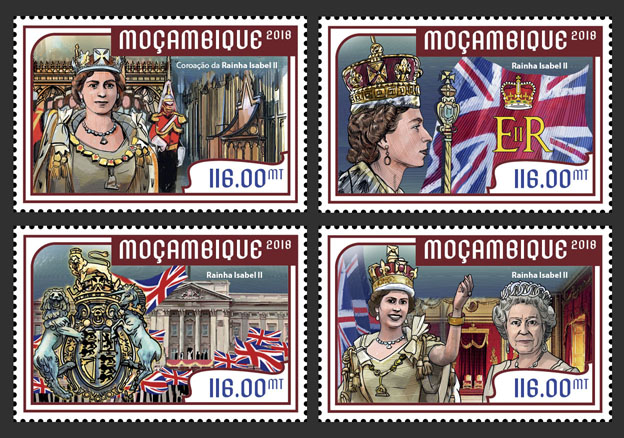 Queen Elizabeth II (set of 4 stamps) - Issue of Mozambique postage Stamps